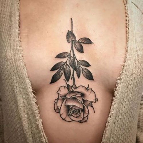 Flower Sternum Tattoo