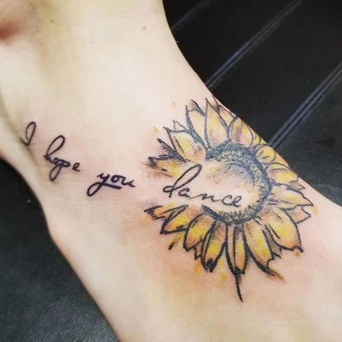 Foot Sunflower Tattoo