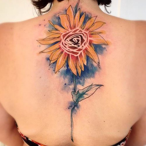 Gorgeous Watercolor Sunflower Tattoo Designs