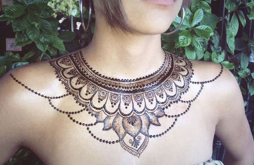 Henna Chest Tattoo