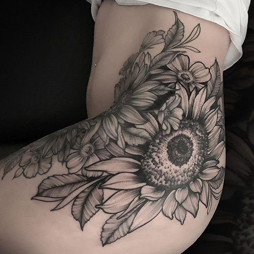 Hip Sunflower Tattoo