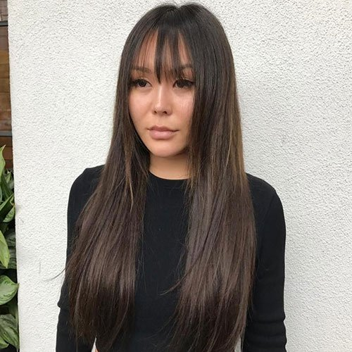 Long Fine Hair With Bangs