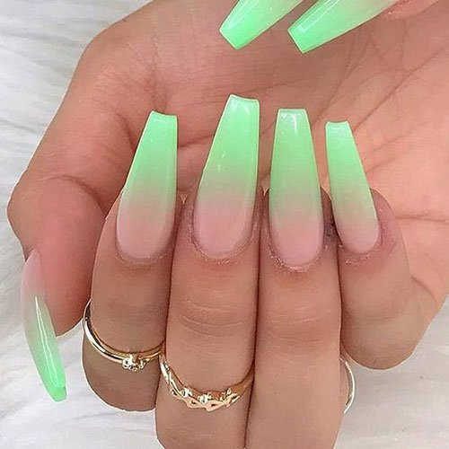 Long Ombre Coffin Nails