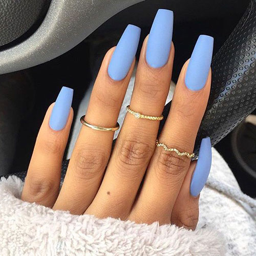 Matte Baby Blue Nails