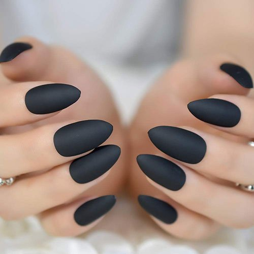 Matte Black Almond Nails