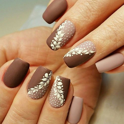 Matte Brown Nail Designs