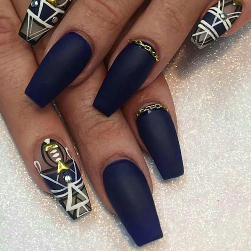 Matte Navy Blue Nails