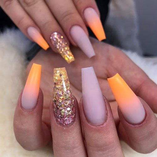 Matte Ombre Coffin Nails