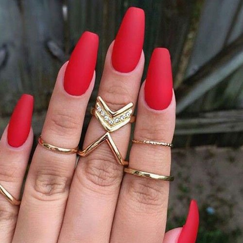 Matte Red Coffin Nails