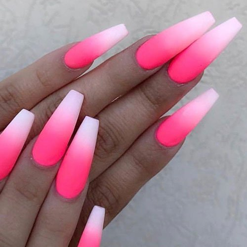 Ombre Matte Pink Nails