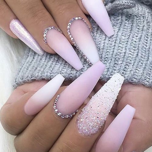 Pink and White Ombre Nails with Glitter