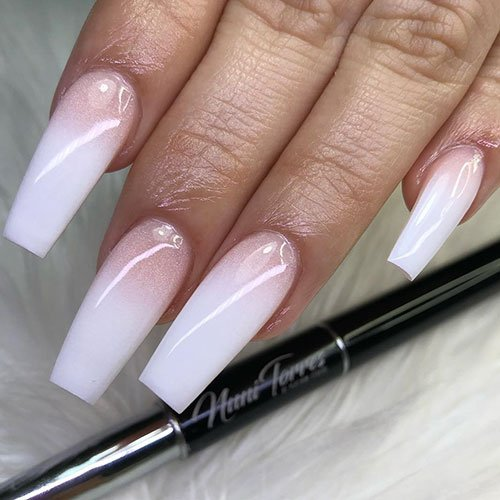 Pink to White Ombre Nails