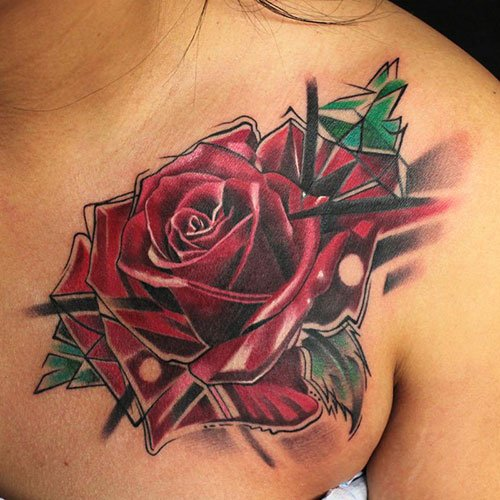 Rose Chest Tattoo Designs