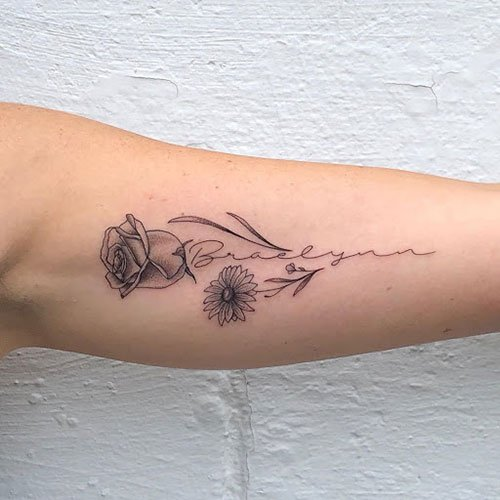 Rose Sunflower Tattoo