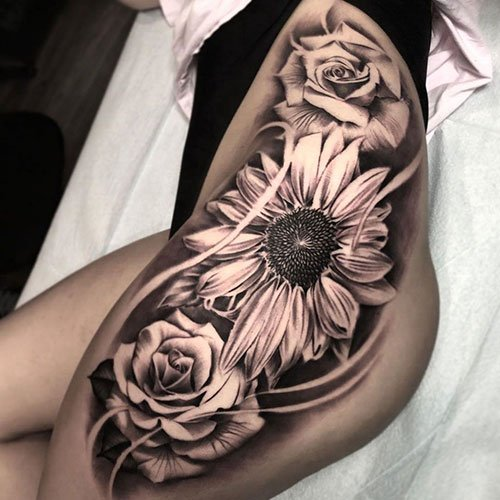 Sexy Sunflower and Rose Tattoo