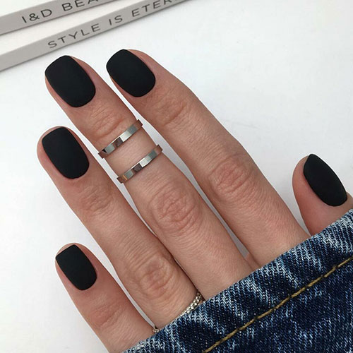 Short Matte Black Nails