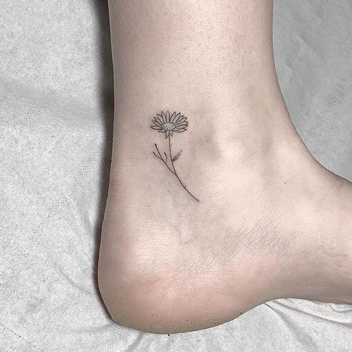 Simple Ankle Sunflower Tattoo Designs