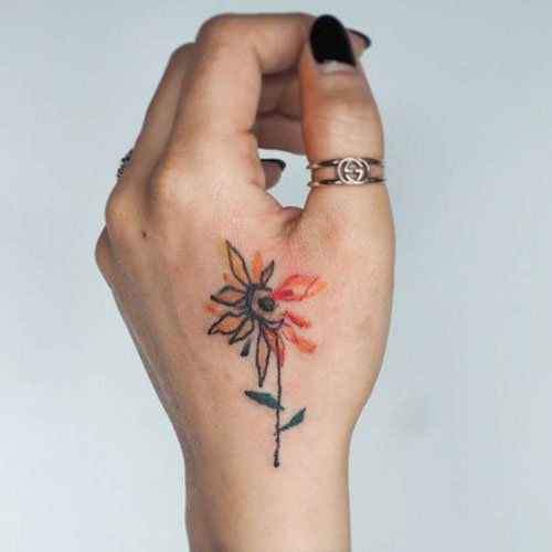 Simple Sunflower Hand Tattoo