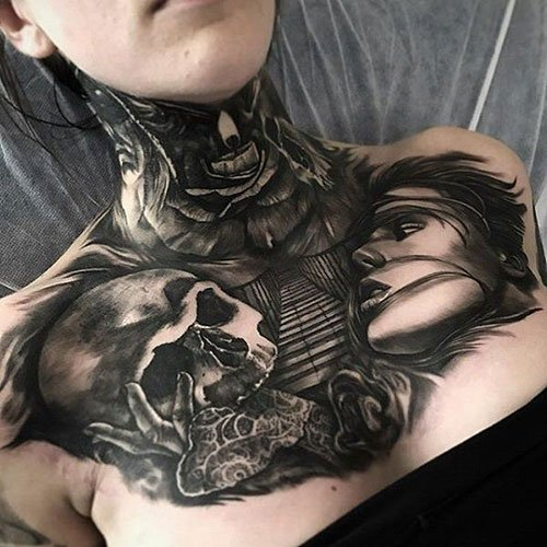 Skull Chest Tattoo