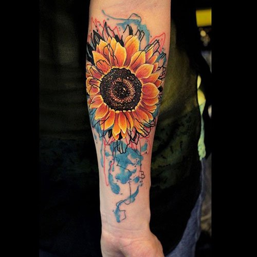 Sunflower Forearm Tattoo