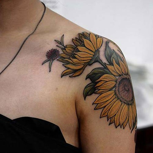 Sunflower Shoulder Tattoo Design Ideas