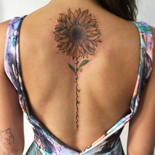 Sunflower Spine Tattoo