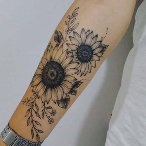 Sunflower Tattoo On Forearm