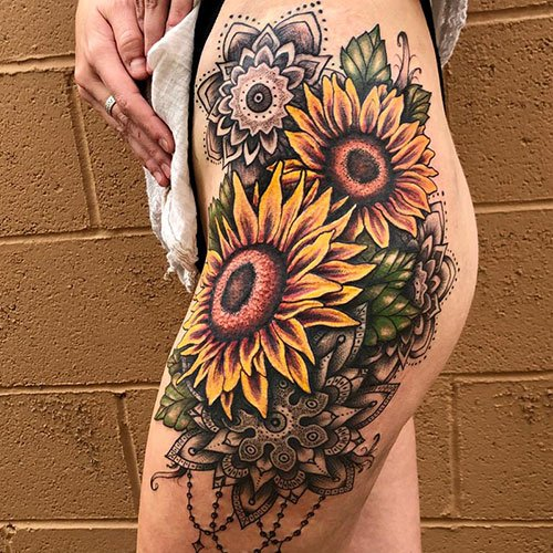 Sunflower Thigh Tattoo