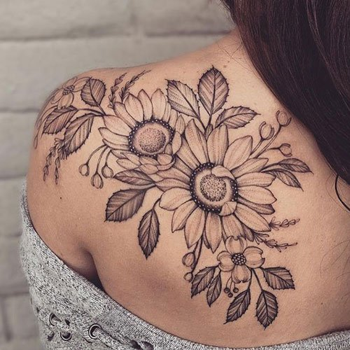 Sunflower Vine Back Tattoo