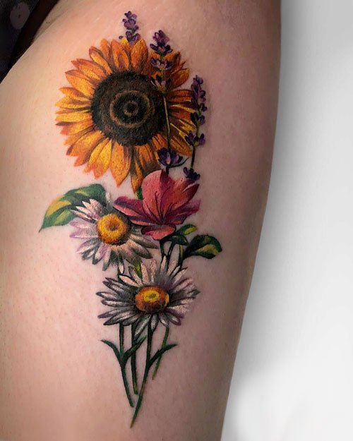 Sunflower and Daisy Tattoo