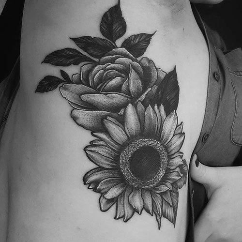 Sunflower and Rose Tattoo