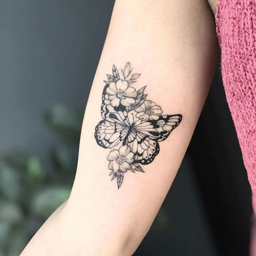 Sunflower with Butterfly Tattoo
