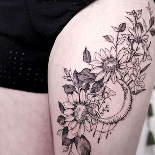 Thigh Sunflower Tattoo Ideas