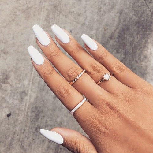 White Matte Coffin Nails