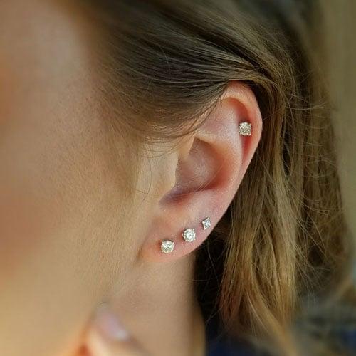 3 Ear Lobe Piercings