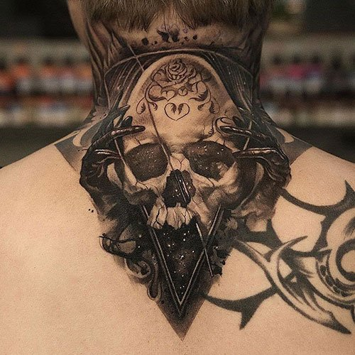 Badass Upper Back and Neck Tattoo
