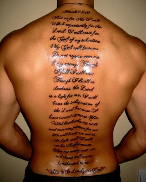 Bible Verse Quote Back Tattoo
