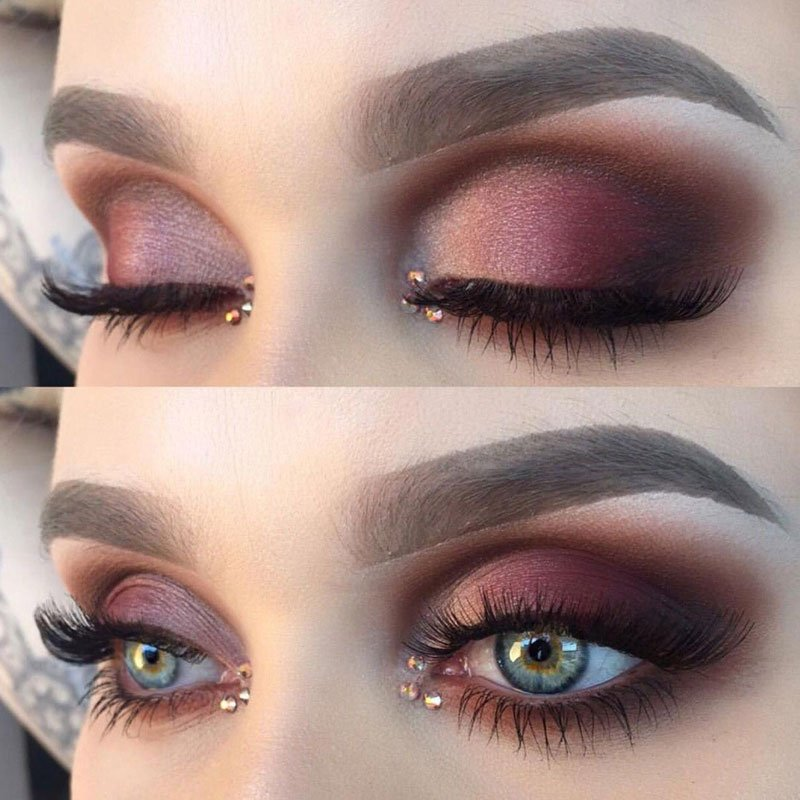 Burgundy Eyeshadow Looks For Blue Eyes