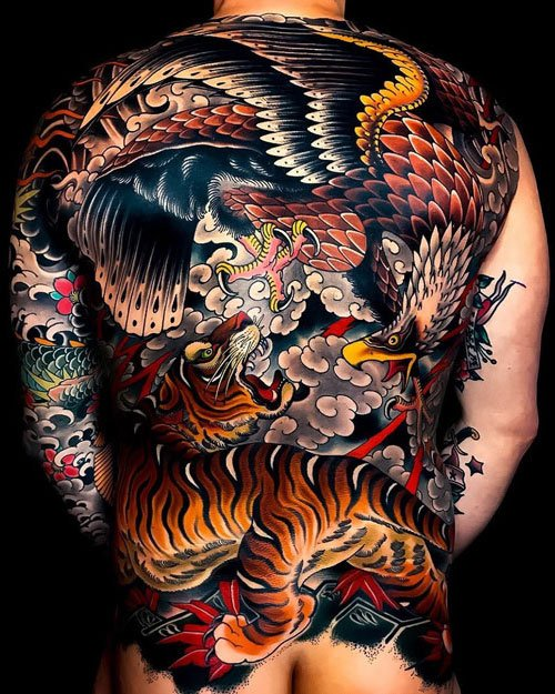 Colorful Japanese Back Tattoo