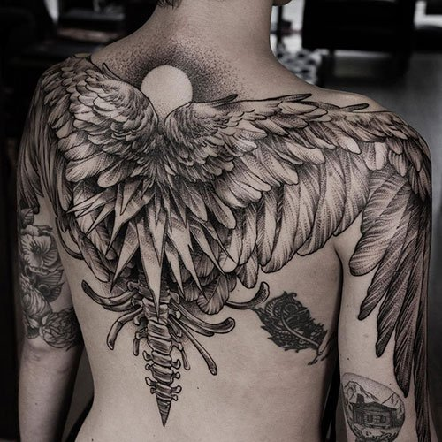 Cool Angel Wings Back Tattoo