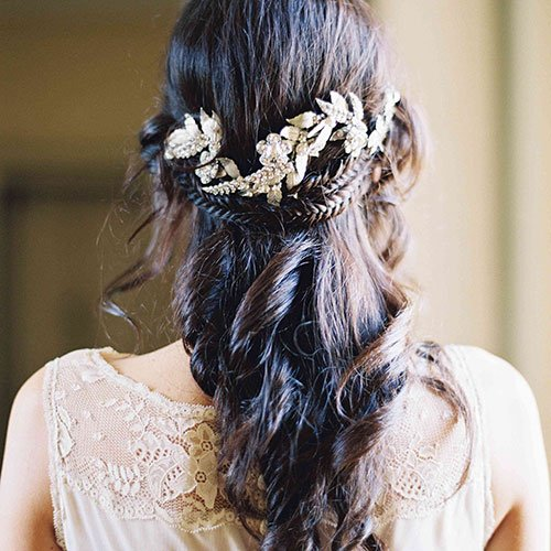 Half Up Half Down Bridesmaid Hairstyles with Accessories
