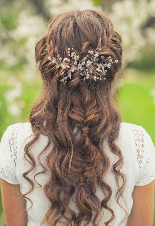 Headband Braid with Curly Hair For Bridesmaids
