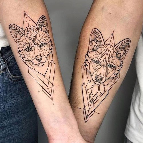 His and Hers Wolf Tattoos