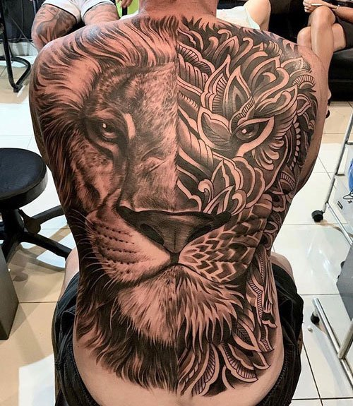Lion and Flower Back Tattoo
