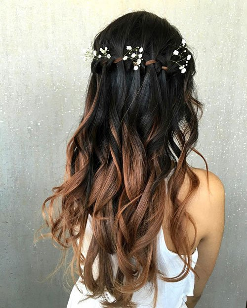 Ombre Waterfall Braids For Bridesmaids