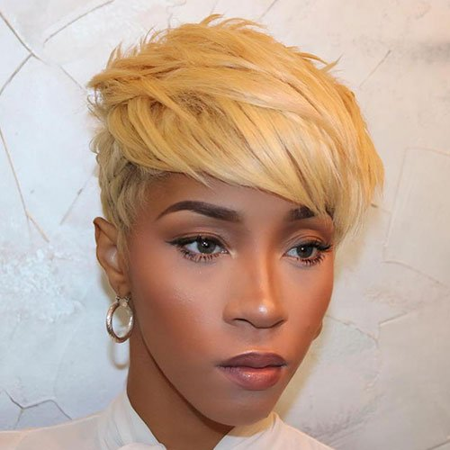 Side-Swept Pixie Haircut For Black Women
