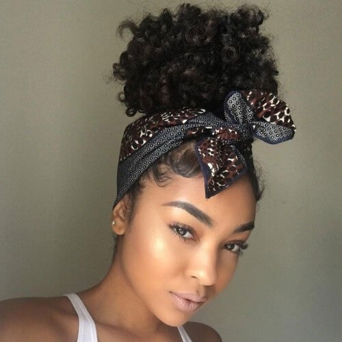 Silk Scarf Updo Hairstyle For Black Women