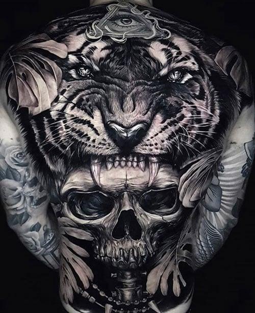 Skull Back Tattoos For Men
