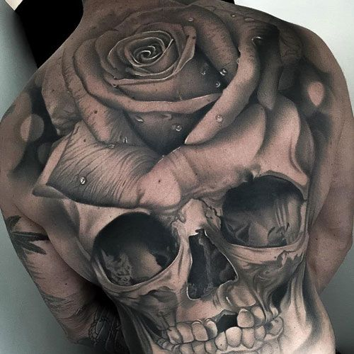 Skull and Rose Back Tattoo