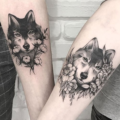 Wolf Couple Tattoos